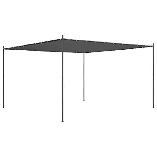 WYJW Gazebo con Techo Plano |Fiesta Barbacoa pérgola Canopy |Garden Sun Shade Shelter Marquee | 4x4x2.4 m Antracita