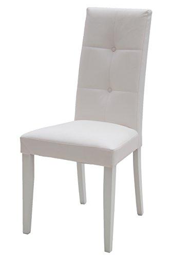 White loft, Set di 2 Sedie, Legno, Bianco, 46x45x100 cm