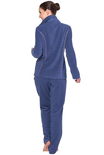 Rösch Damen Hausanzug Fleece Classic Comfort 1889511 Zweiteiliger Schlafanzug, Blau (Blau-Rose 11881), 48