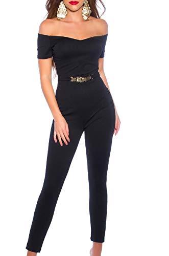 Koucla Damen Overall Jumpsuit Playsuit mit Goldschnalle & Carmen Ausschnitt (Schwarz, S)