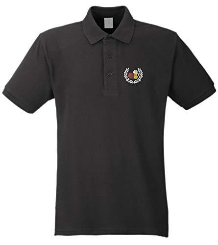 Lorbeerkranz Fussball Bier Poloshirt - Bestickt - Polohemd Piqué Shirt Schwarz L