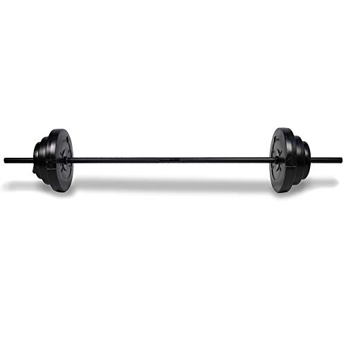 Phoenix Fitness 20kg Barbell Weight Set for Home Gym Fitness and Strength Training - Vinyl Adjustable Barbell Knurled Bar