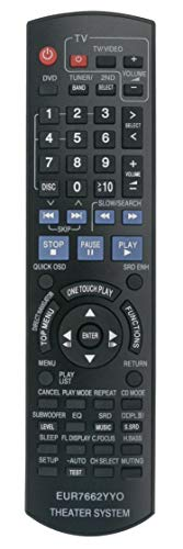 EUR7662YY0 EUR7662YYO Replaced Remote fit for Panasonic DVD Home Theater Sound System SA-PT950P SA-PT950PC SC-PT950 SC-PT1050 SA-PT950 SA-PT1050 SB-HF950 SB-HF1050 SB-HC950 SB-HS950 SB-HS1050 SB-HW950