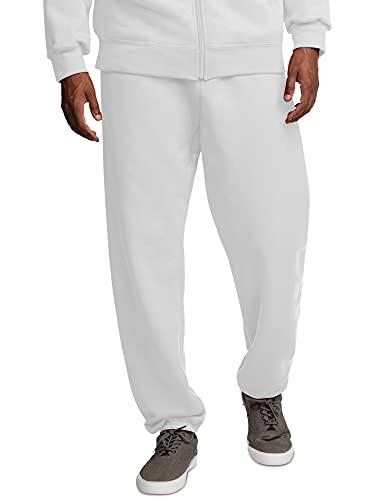 Fruit of the Loom Men's Eversoft Fleece Sweatpants, White, Large