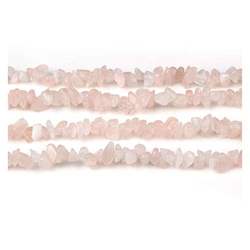 JINAN Cuentas de piedra natural de 5 a 8 mm con forma irregular de grava para hacer collares y pulseras (color: cuarzo rosa)