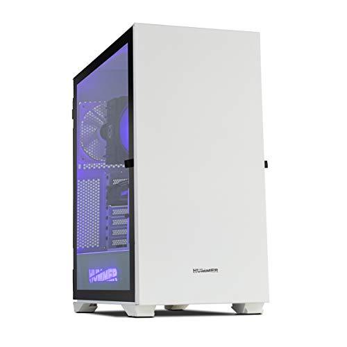 Hummer Nexus -NXHUMMERNXSWH- Caja PC tamaño extra ARGB E-ATX, ATX, M-ATX-ITX, panel lateral crital templado, 4 ventiladores 120m incluidos, espacio hasta 9 ventiladores, color blanco