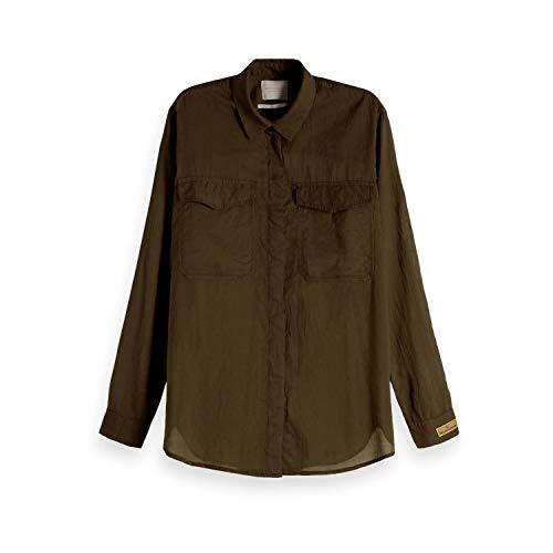 Maison Scotch Damen Bluse Cotton Button Up 149768 Military S