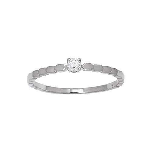 LuckyOneBijoux.com Anillo Moscú de oro blanco de 18 quilates con diamante solitario