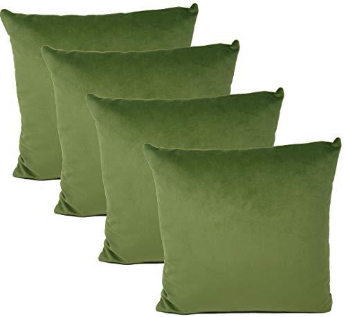 Milanino Dekokissen 40x40 mit Füllung und Bezug   4 Stück Couchkissen Sofakissen Set   samtweiche Zierkissen mit Reißverschluss   quadratische Deko Kissen für Wohnzimmer- Sofa & Couch (Khaki-Grün)