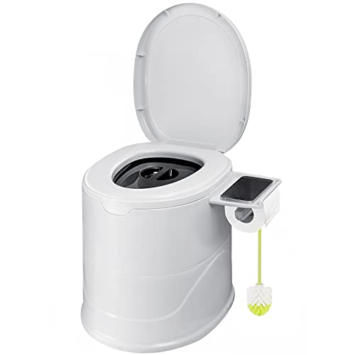 Bonergy Portable Toilet for Camping with Inner Bucket Indoor Outdoor Portable Toilet with Removable Toilet Paper Holder and Storage Shelf for Camping, Hiking, RV, Bedroom and Living Room (White)