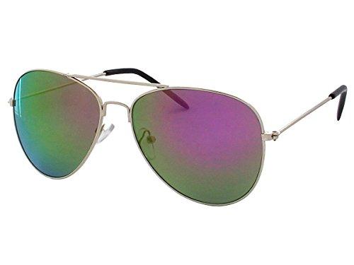 Alsino 70er 80er Jahre Retro Sonnenbrille Pornobrille Piloten brille Viper Sonnenbrillen V-705bs, silber/multi