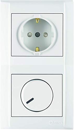 Defne | Combi-doos | Schuko-stopcontact met kinderbeveiliging & dimmer + dubbel frame, VDE-gecertificeerd, inbouw met stekkerklem, wit