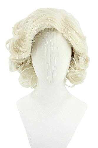 XQKQ Peluca Rubia para Mujer Peluca de la Reina Isabel Corta Ondulada Peluca de Disfraz de Halloween Cosplay Disfraz