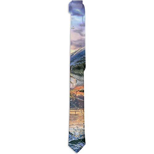 Paedto Corbatas para hombres Regalos de Año Nuevo Corbata de seda ajustada para hombres Moda Novedad Peces Buceo Buena suerte Corbata para cena Fiesta Boda