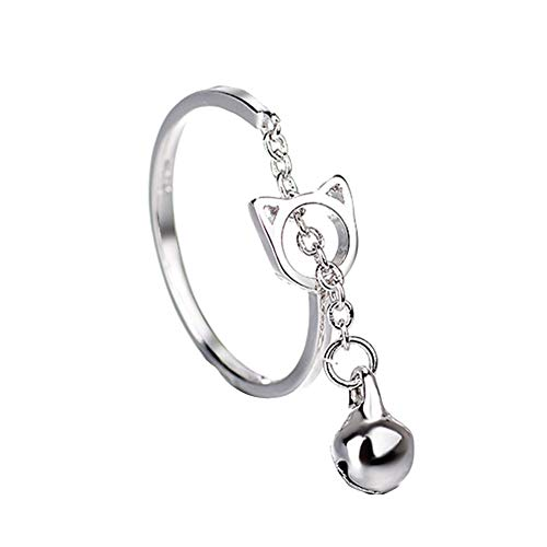 TankMR Exquisite Jewelry Ring Cute Hollow Cat with Bell Charm Chain Open Ring Women Animal Finger Best Gifts for Love with Valentine's Day - Silver
