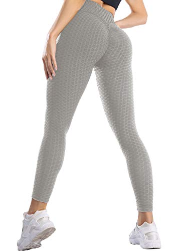 SLIMBELLE Leggings deportivos para mujer, push up, anticelulitis, pantalones de yoga, sexy, deporte, fitness, gimnasio, mallas correr, fitness gris M