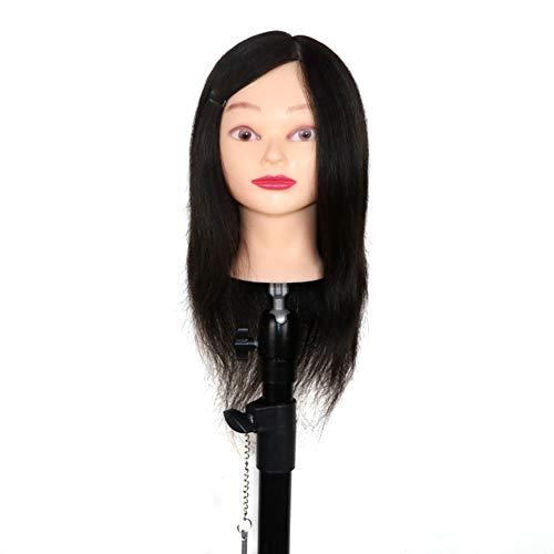 Professionnel véritable cheveux 22 pouces coiffure formation tête mannequin tête coiffeur mannequin tête avec support de serrage,Black,14inches