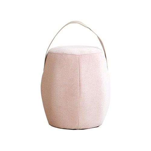 Nordique couleur tissu petit tabouret en bois chaussure banc simple mode créatif tabouret 25 * 25 * 32 cm (Color : Pink)