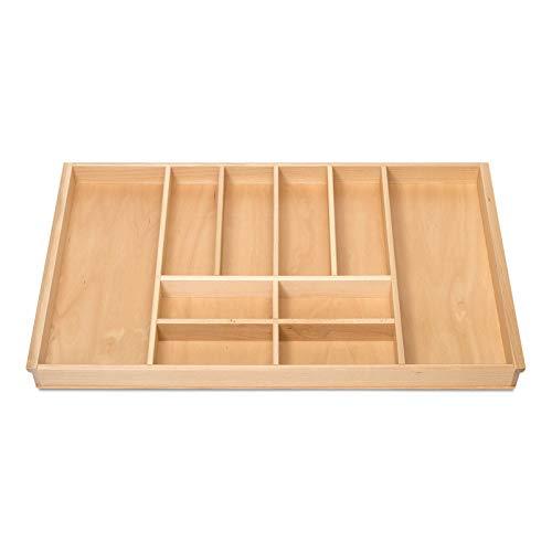 Orga-Box BUCHE Besteckeinsatz für 90er Schublade z.B. Nobilia ab 2013 (473 x 797 mm) Holz-Besteckeinlage mit 10 Fächer III