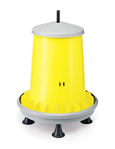 Zootec Mangiatoia a tramoggia in plastica con Alette antispreco capacità 18 kg, Asta per la Regolazione del mangime e Piedini Ideale per avicoli Predisposta per Essere appesa nel pollaio