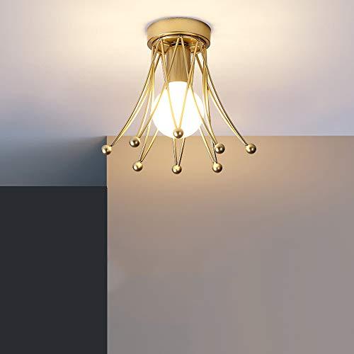 Lámpara de Techo Moderna con Zócalo E27, Luces de Pasillo con Diseño de Corona Dorada, Luz de Techo de Metal Contiene una Bombilla LED Regulable de 9W, Iluminación de la Corredor, Ø20cm×H22cm
