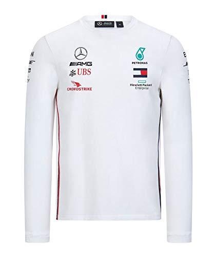 [ Mercedes AMG ] 2020 メルセデス AMG ペトロナス F1 Racing Team オフィシャル レプリカ ロングスリーブTシャツ (L身幅57cm着丈68cm, ホワイト)