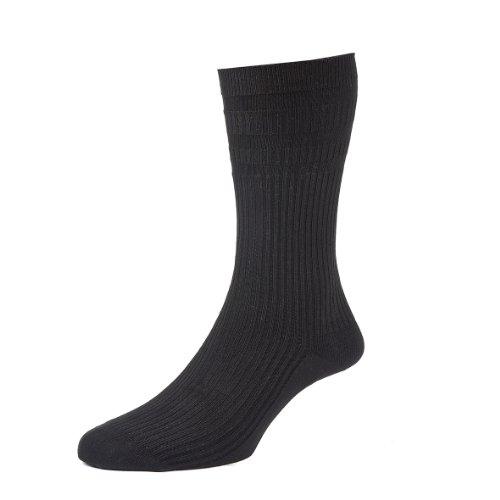HJ Hall Softop HJ191 Socken, nicht elastisch, Baumwolle, 2 Stück Gr. Large, Schwarz