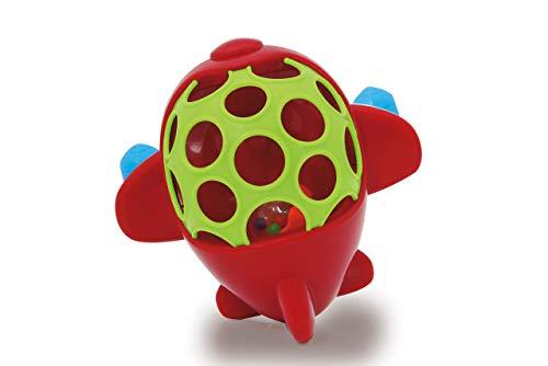 JAMARA 460467 - Rota Flugzeug rot - Softball mit geometrischen Löchern, rotierende Kunststoffkugel, fördert motorische Fähigkeiten und fantasievolles Spielen