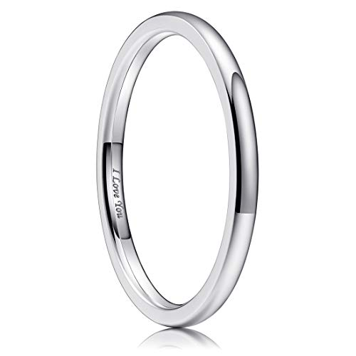 King Will Basic 2mm Stainless Steel Ring Original Color Full High Polished with Laser Etched I Love You 10.5