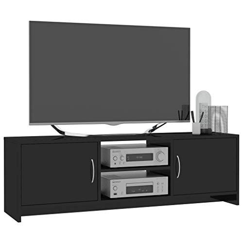 Tidyard Mueble de TV Mueble TV Salón Mesa Televisión de aglomerado Negro Brillante 120x30x37,5 cm,con 2 estantes y 2 Puertas