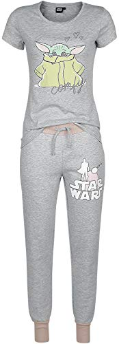 Star Wars The Mandalorian - Comfy - Grogu Mujer Pijama Gris/Rosa S, 60% algodón, 40% poliéster,