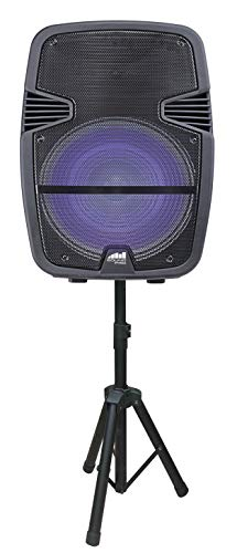 Naxa Electronics Portable Bluetooth Party Speaker with Disco Light & Stand, 15-inch, Black