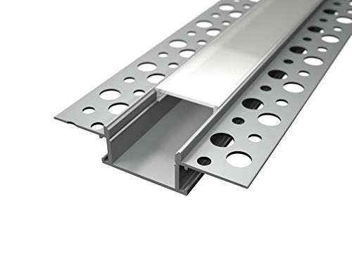 Profilé encastrable en aluminium Alfa LP3050 de 2 m, pour placoplâtre et double bande à LED, diffuseur opaque