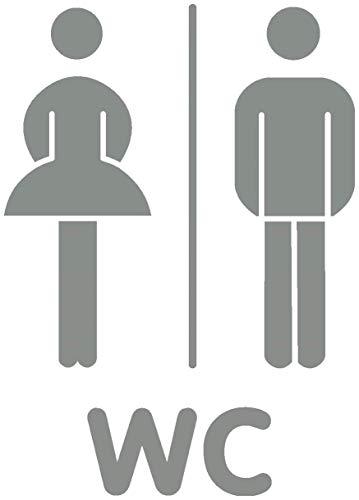 Placa para puerta WC Puerta decorativo para pared adhesivo, gris medio 074, 14 x 20cm