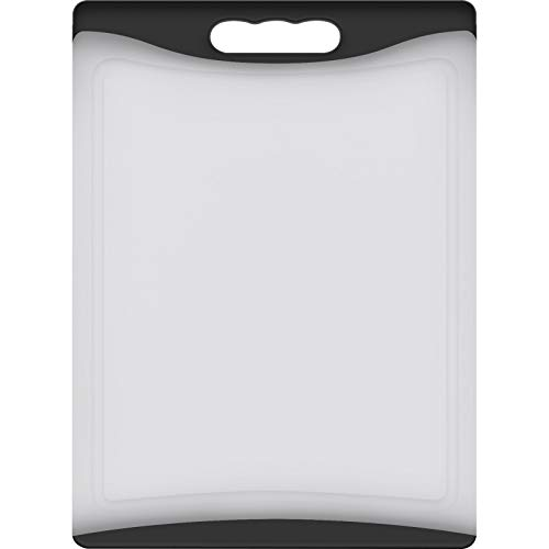 "Extra Large Cutting Board, 17.33"" Plastic Cutting Board for Kitchen Dishwasher Chopping Board with Juice Grooves Kitchen Cutting Board with Easy Grip Handle, Clear, Kikcoin"