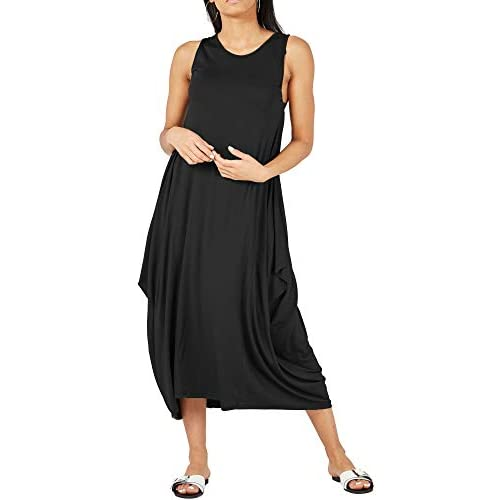 Re Tech UK Womens Ladies Baggy Lagenlook Racer Dress Loose Tulip Sleeveless Round Neck
