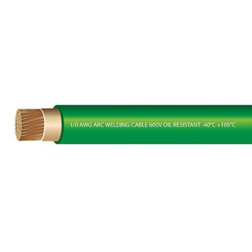 1/0 Gauge Premium Extra Flexible Welding Cable 600 VOLT - GREEN - 25 FEET - EWCS Spec - Made in the USA!