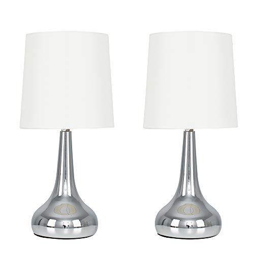 MiniSun - Set de 2 Lámparas de Mesa Táctiles - Bases Cromadas y Pantallas de Tela Crema - Estilo Forma de Gota - Lámparas de mesita