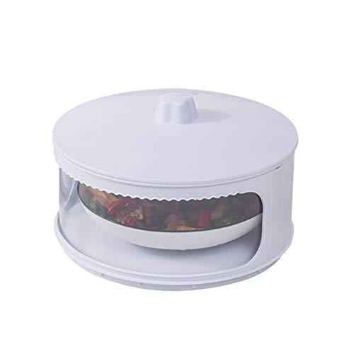 Gobbuy Tapa de Comida Tapas de Plato de Aislamiento de Cocina Recipientes de Comida Protección apilable Transparente Plato Transparente Fruta Picnic BBQ