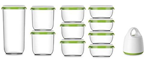 STARTER Kit pour la Mise Sous Vide, la conservation et la préparation culinaire, 4 Contenants 600 ml, 3 Contenants 850 ml, 2 Contenants 1350 ml et 1 Contenant de 2850 ml