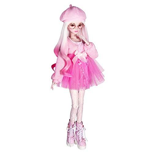 Mode Prinzessin Pullover Kleid mit Mütze und Strümpfen Winterkleidung für 1/3 BJD Mädchen Puppen - Rosa