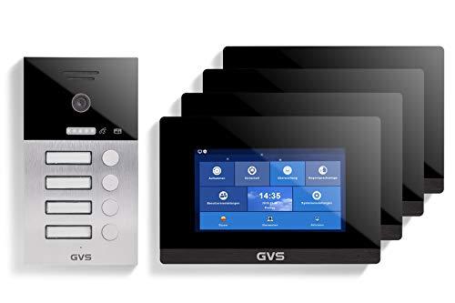GVS AVS1092U - Videoportero IP de 4 cables, estación de puerta empotrada IP65, monitor de 4 x 7 pulgadas, aplicación, cámara HD de 120 °, función de apertura de puerta, 32 GB de memoria, conmutador PoE, 4 casas familiares.