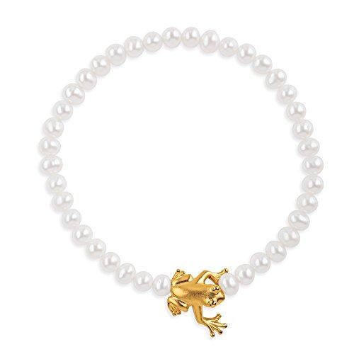 Drachenfels Armband mit Süßwasserperlen und Frosch in Echtsilber goldplattiert | Kollektion Froschkönig | Elegantes Damenarmband | Designer-Schmuck | D FR 81/AGG