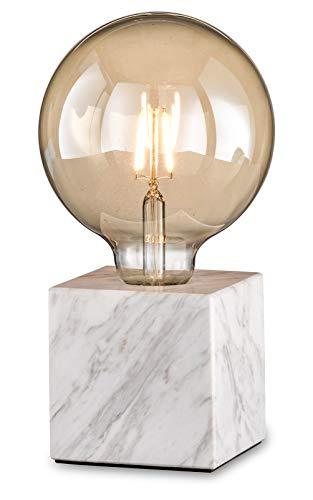 loxomo - lámpara de mesa cúbica de mármol, 9 x 9 x 9 cm, lámpara de mesa de mármol con casquillo E27, hasta máx. 60W, lámpara deco para bombillas industriales retro Edison, IP20, mármol blanco
