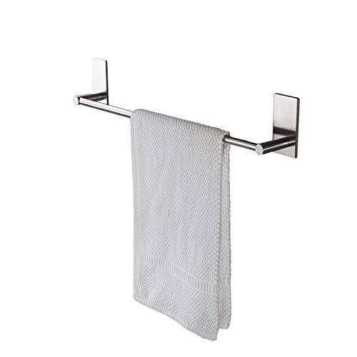 Zeta SUS304acero inoxidable autoadhesivo para baño cocina individual toallero de barra baño–estante de pared para colgar toalla Stick colgar en–estilo contemporáneo, acabado cepillado