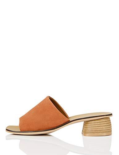 FIND Soft Leather Mule Offene Sandalen, Braun (Azalea Peach), 40 EU