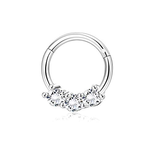 Sllaiss 8MM Septum Ring 16G Swarovski Cubic Zirconia Conch Piercing Jewelry 316L Stainless Steel Helix Cartilage Earring Hoop Nose Rings for Women Eyebrow Rings Lip Rings
