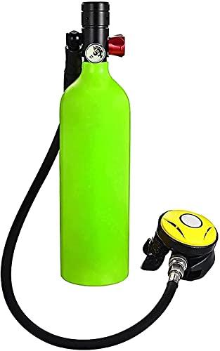 Equipo de Buceo de Buceo 1l Buceo Tanque de Oxígeno Aliento Dispositivo subacuático 15-20mins Capacidad Recargable Cilindro de oxígeno de Tanque de Aire vacío (Color: Negro) (Color: Verde)-Verde