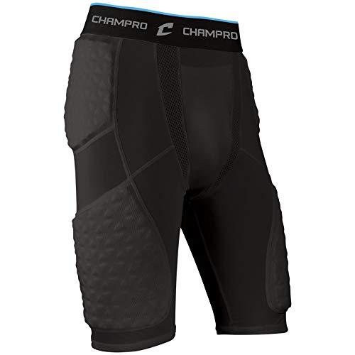 CHAMPRO Tri-Flex Padded Short, Youth Medium, Black
