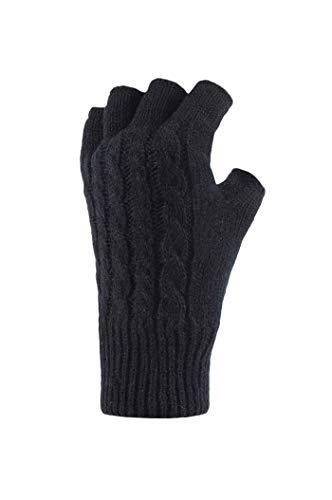 HEAT HOLDERS Heatweaver Damen Thermohandschuhe für den Winter, fingerlos, Einheitsgröße Gr. Einheitsgröße, Schwarz